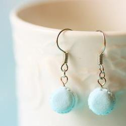 Food Jewelry - Powder Blue Macaron Earrings 